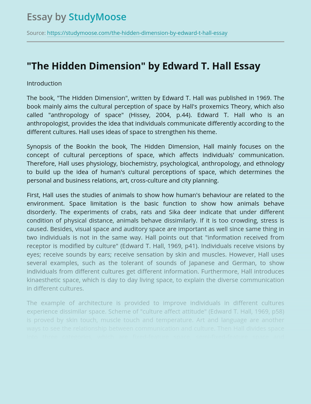 """""""The Hidden Dimension"""" by Edward T. Hall"""