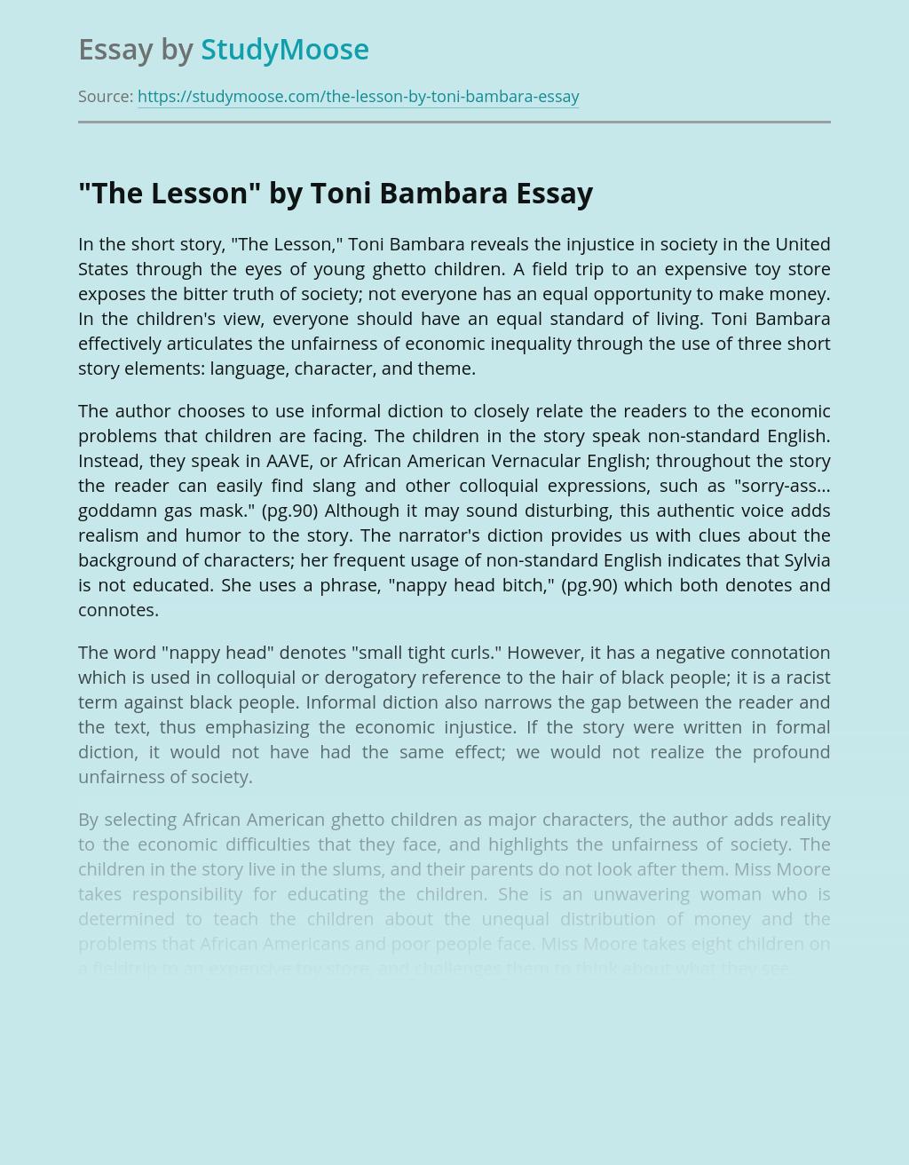 Short STory The Lesson by Toni Bambara