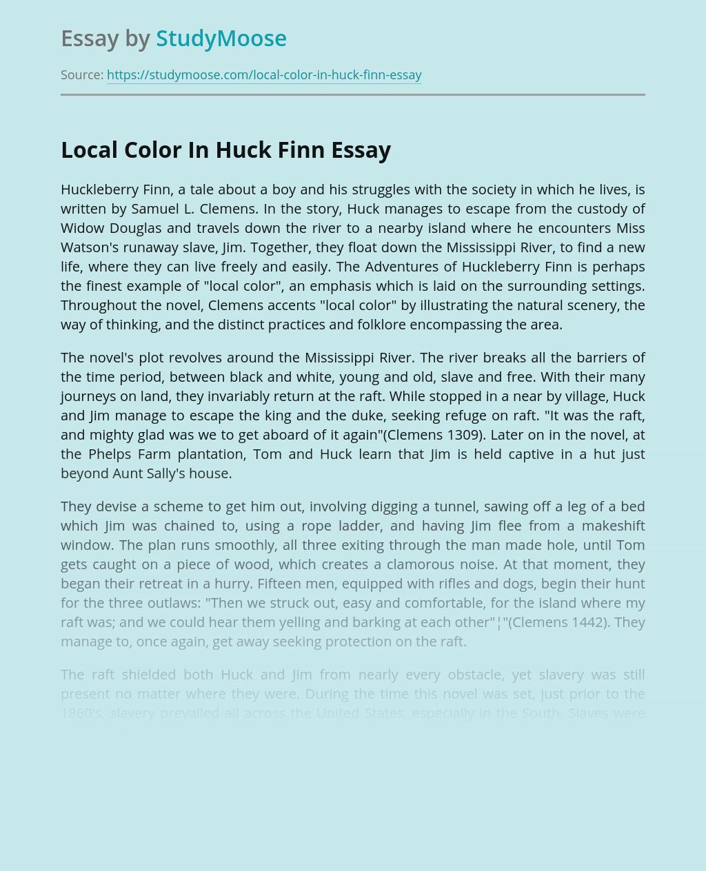 Local Color In Huck Finn