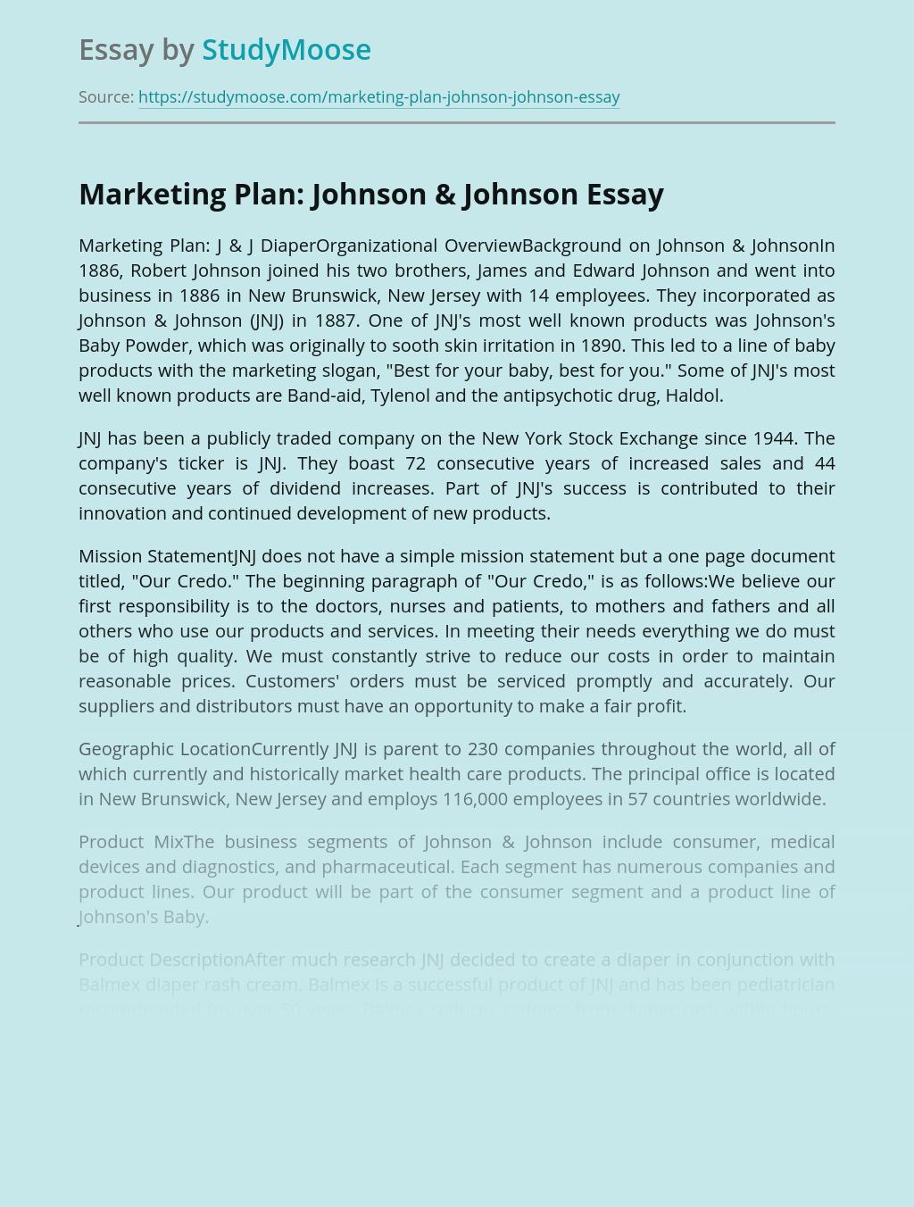 Marketing Plan: Johnson & Johnson