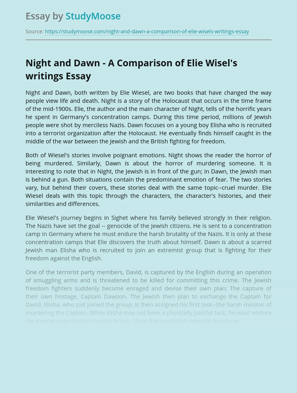 Night and Dawn - A Comparison of Elie Wisel's writings