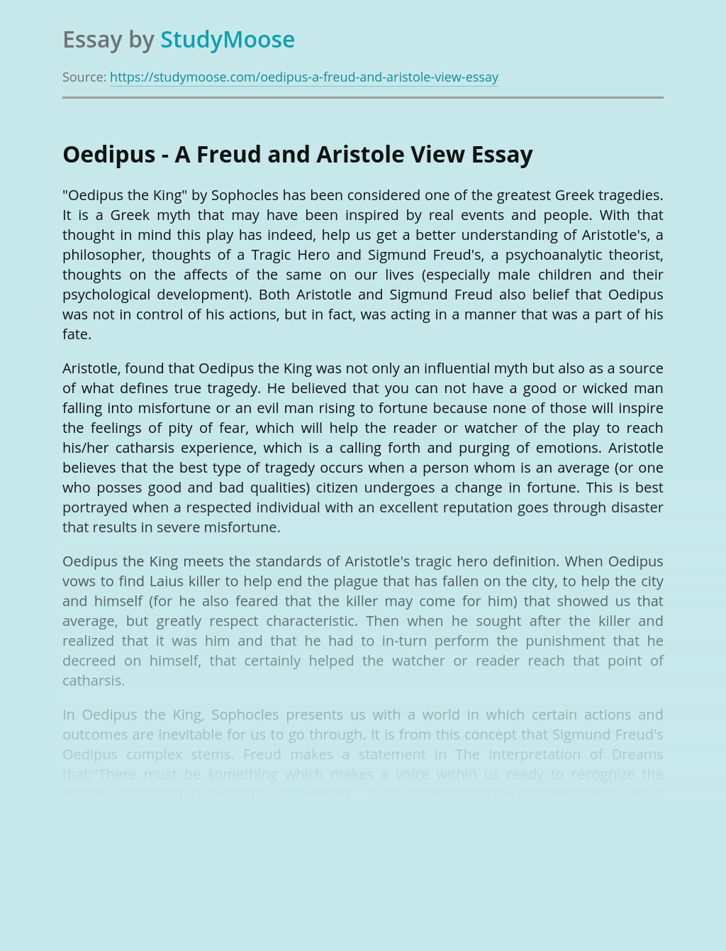 Oedipus - A Freud and Aristole View