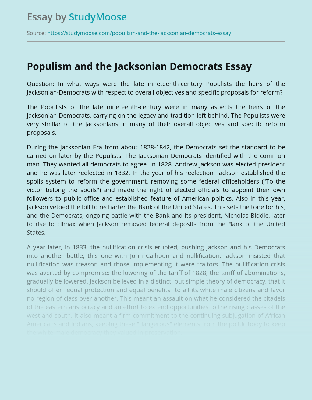 Populism and the Jacksonian Democrats