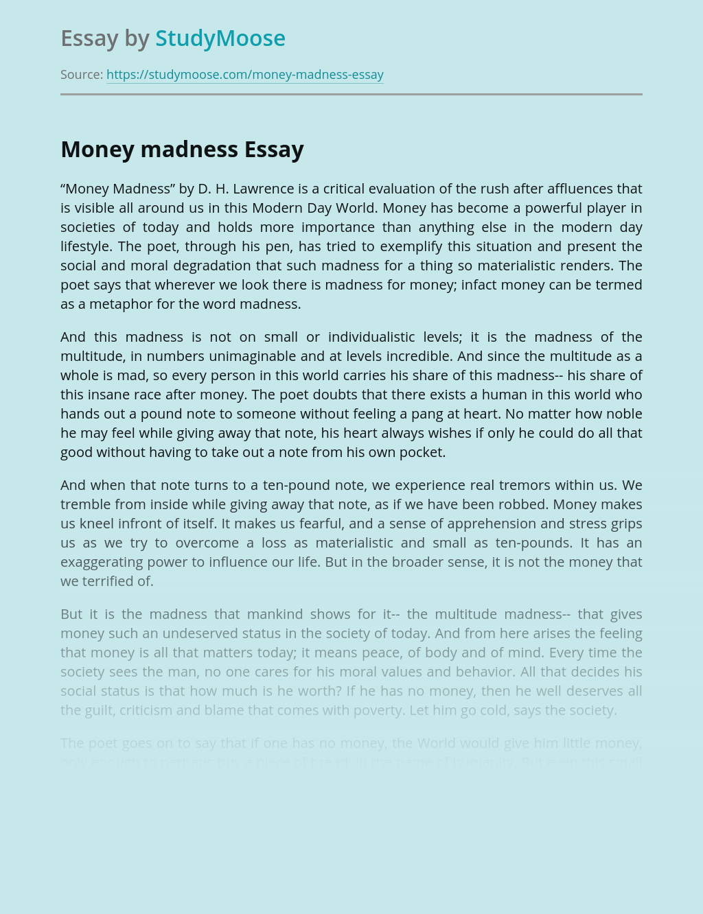 """""""Money Madness"""" - a critical evaluation of the rush"""