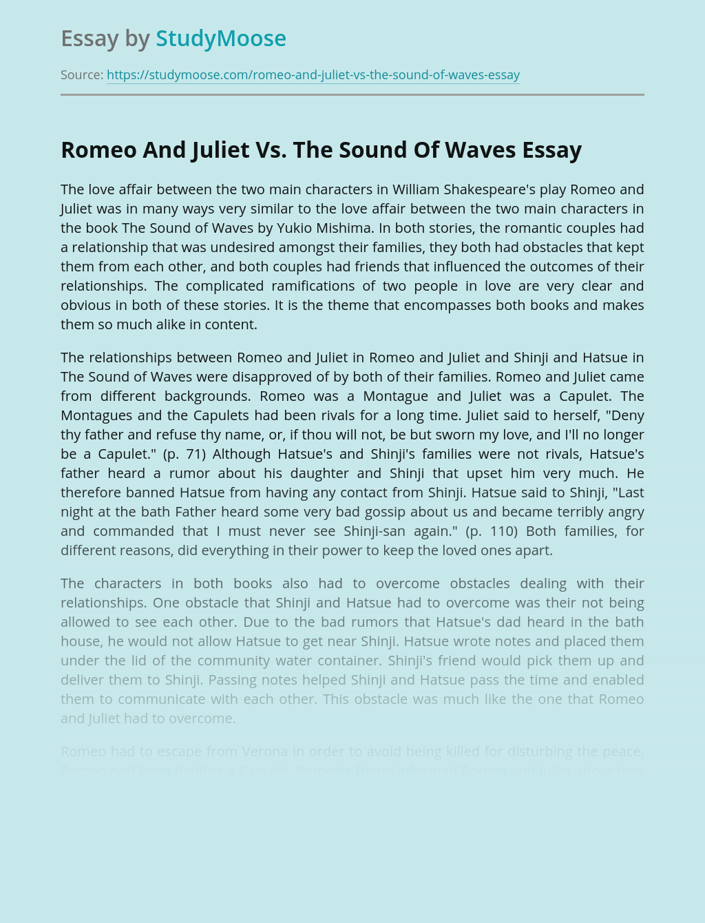 Romeo And Juliet Vs. The Sound Of Waves