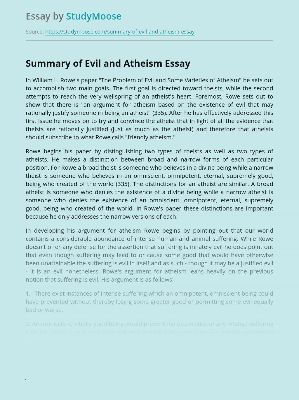 Summary of Evil and Atheism