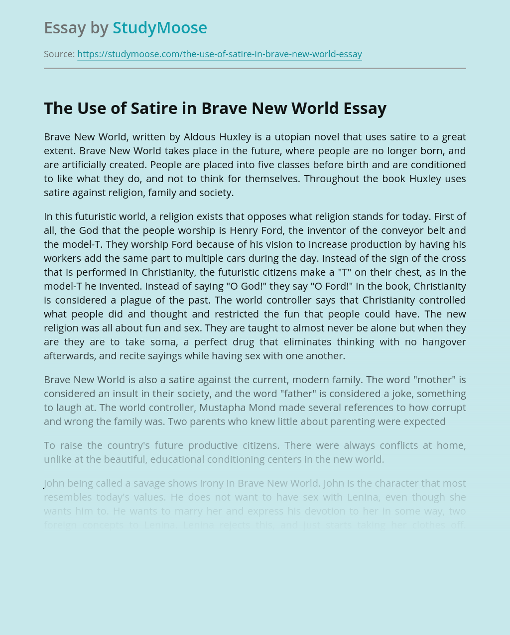 The Use of Satire in Brave New World