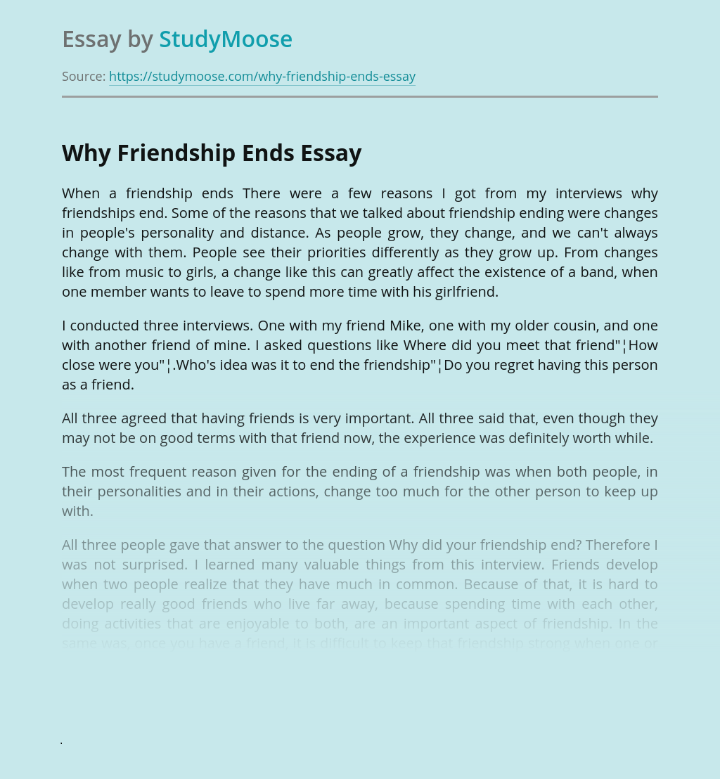 Why Friendship Ends?