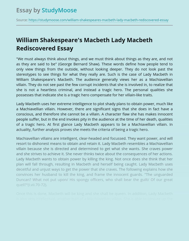 William Shakespeare's Macbeth Lady Macbeth Rediscovered