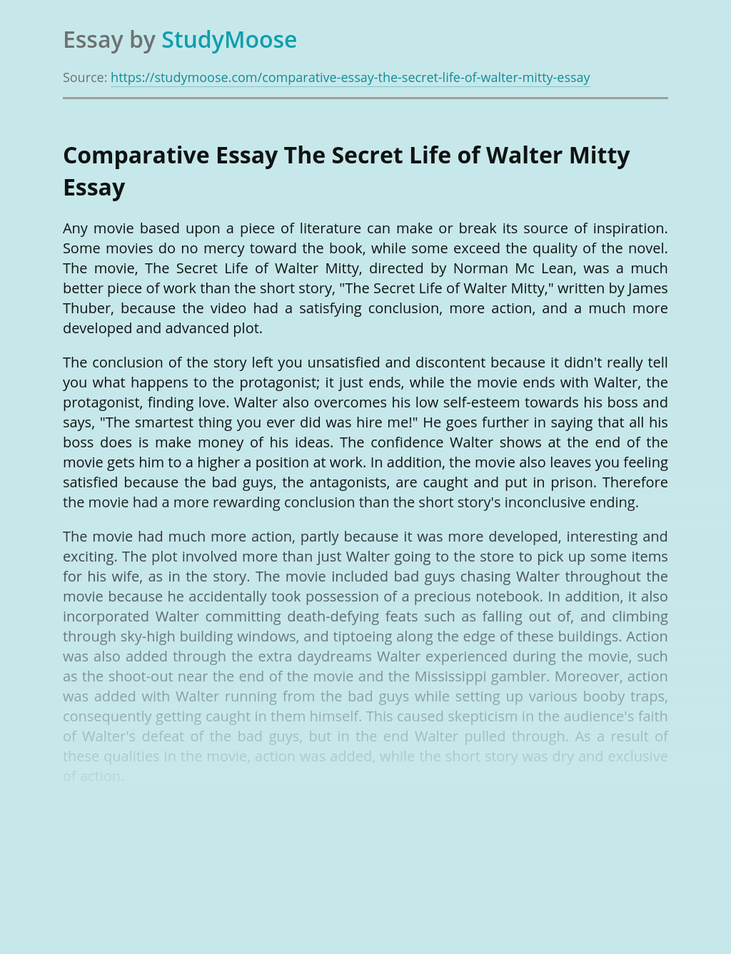 Comparative Essay The Secret Life of Walter Mitty