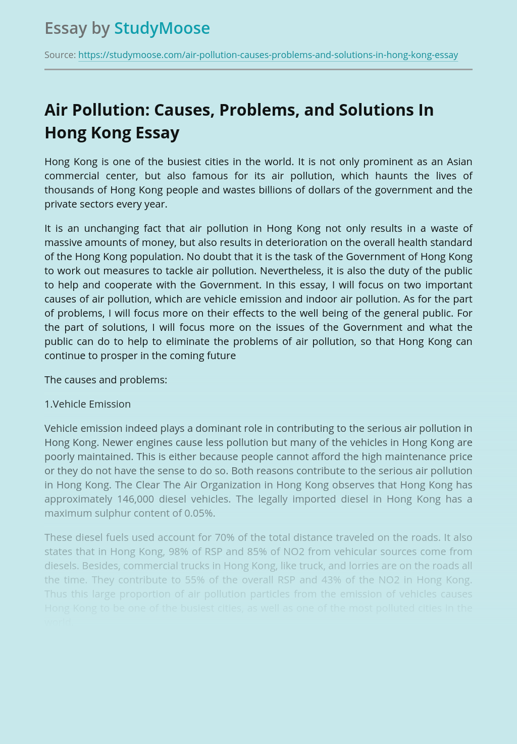 Air Pollution: Causes, Problems, and Solutions In Hong Kong