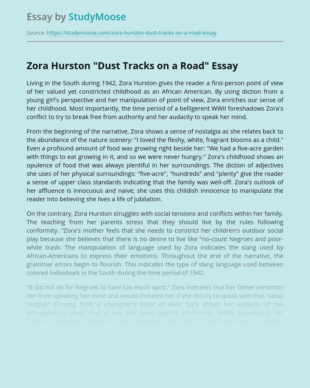 "Zora Hurston ""Dust Tracks on a Road"""