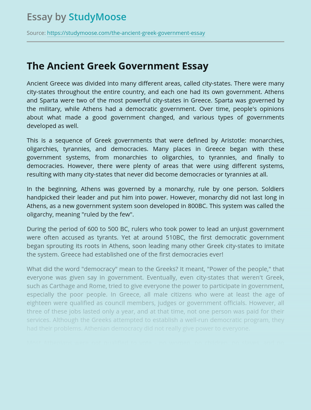 The Ancient Greek Government
