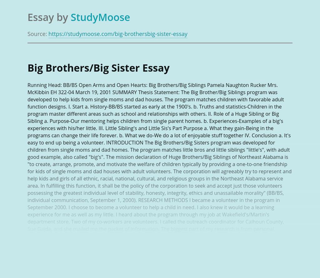 Big Brothers/Big Sister