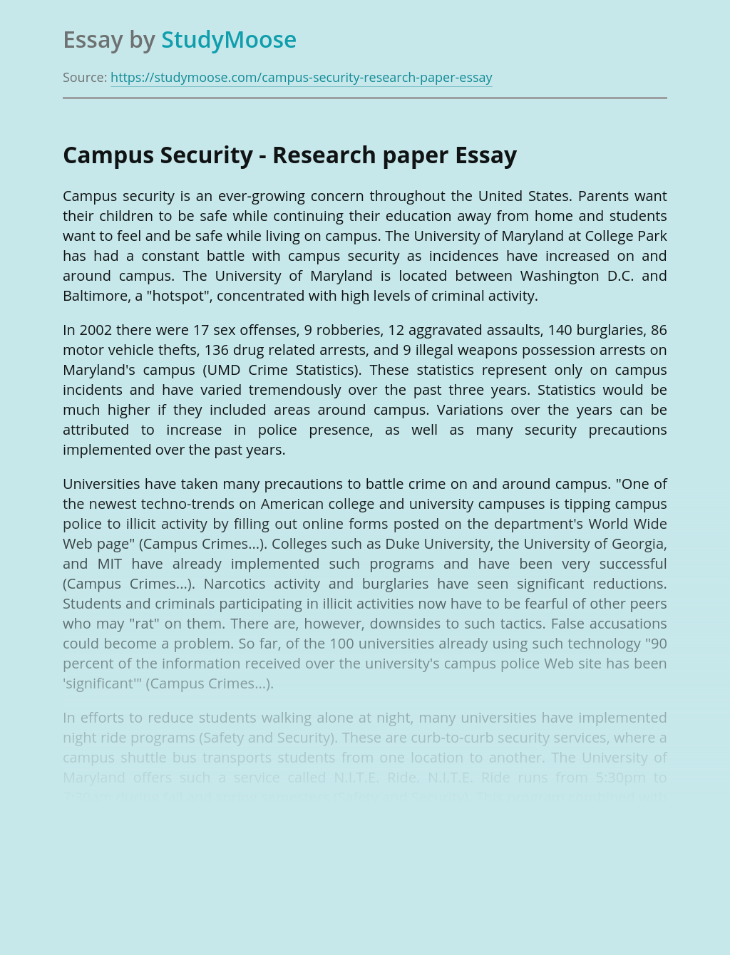 Campus Security - Research paper