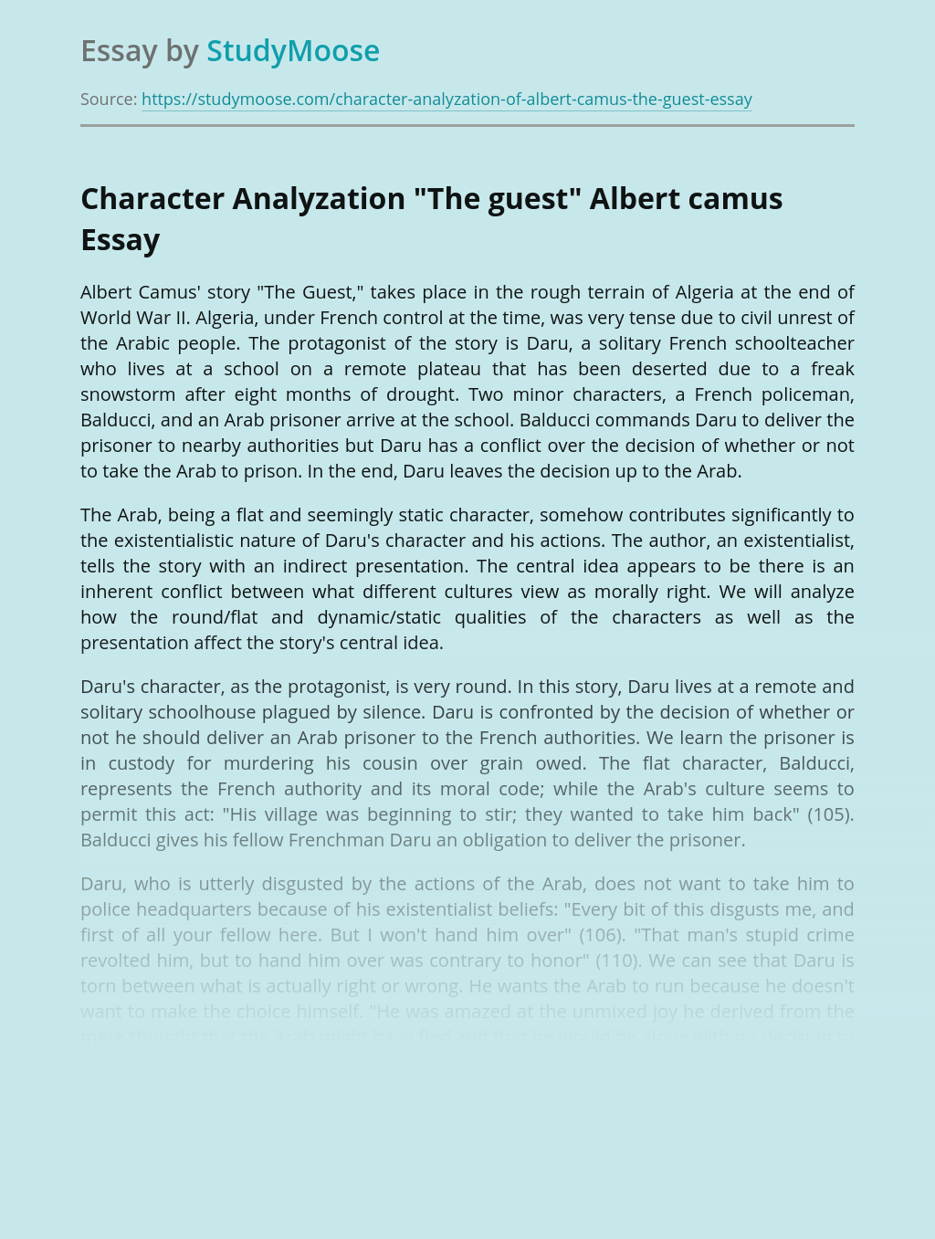 """Character Analyzation """"The guest"""" Albert camus"""