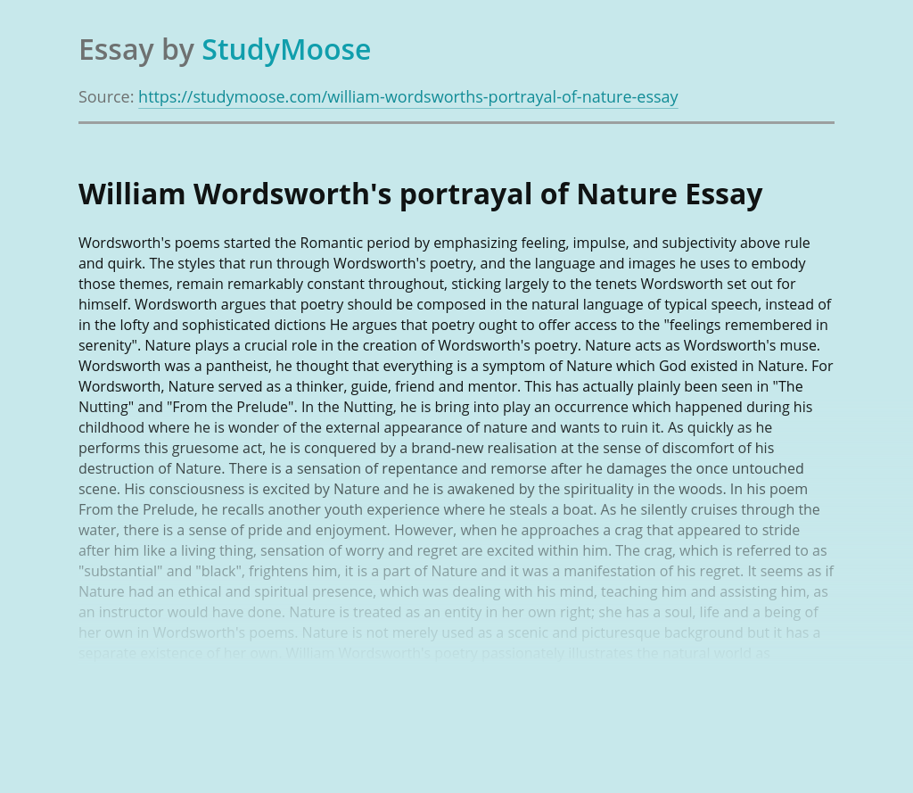 William Wordsworth's portrayal of Nature