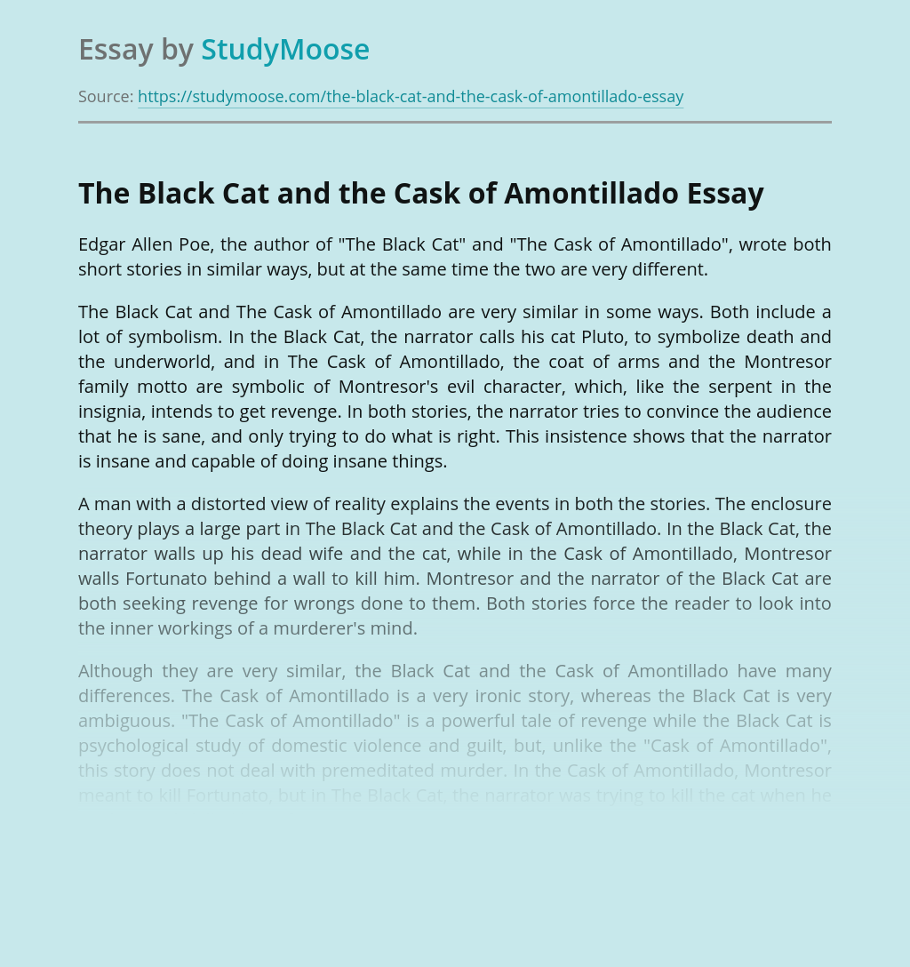 The Black Cat and the Cask of Amontillado