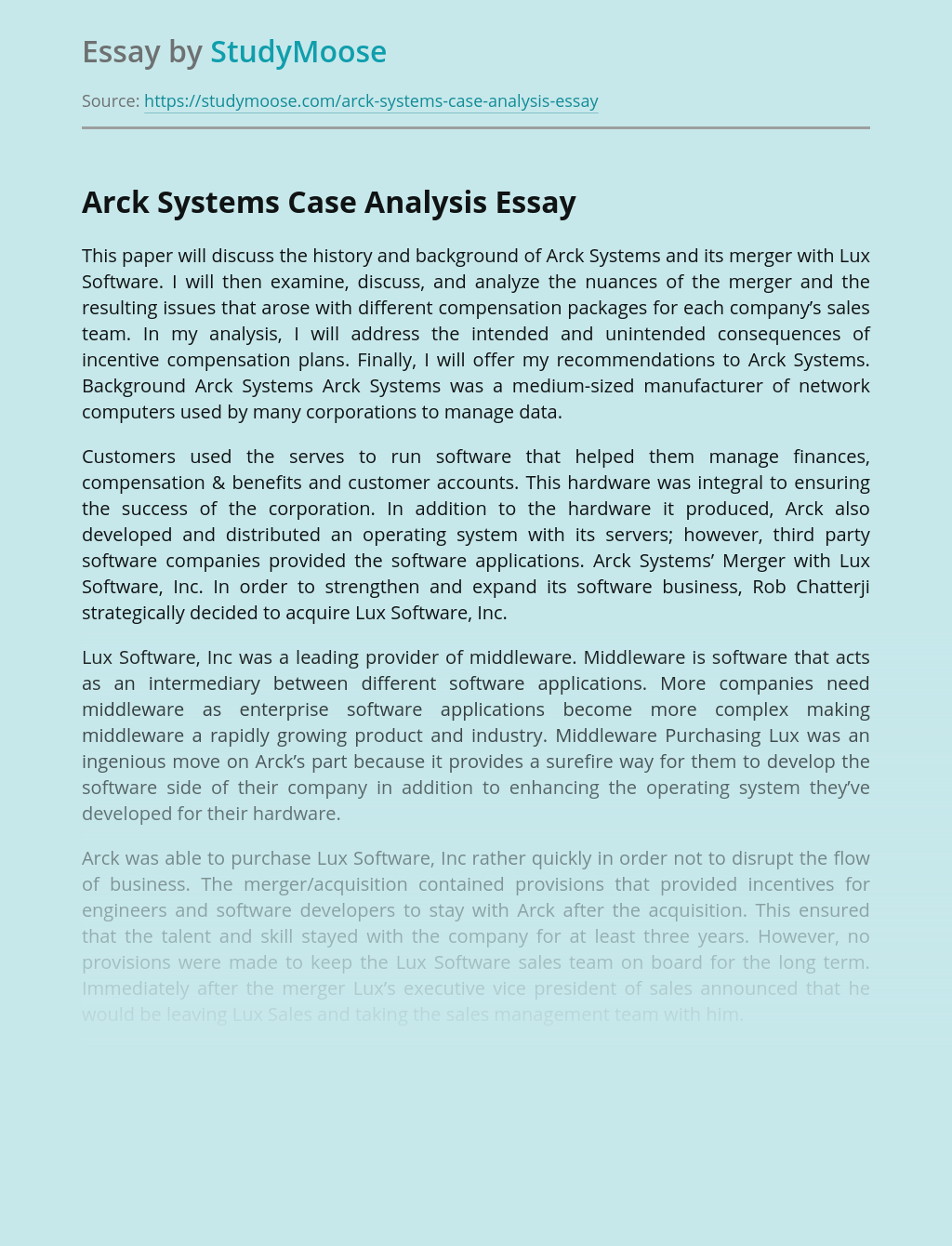 Arck Systems Case Analysis