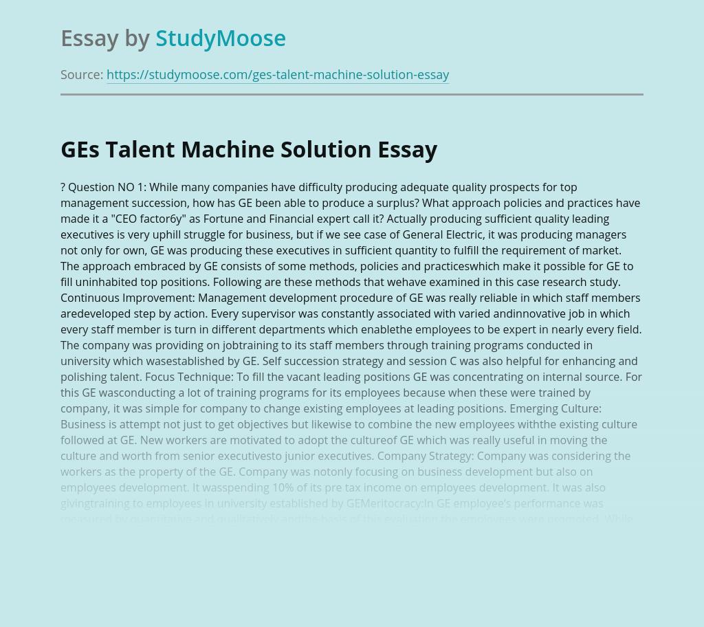GE Company's Talent Machine Solution
