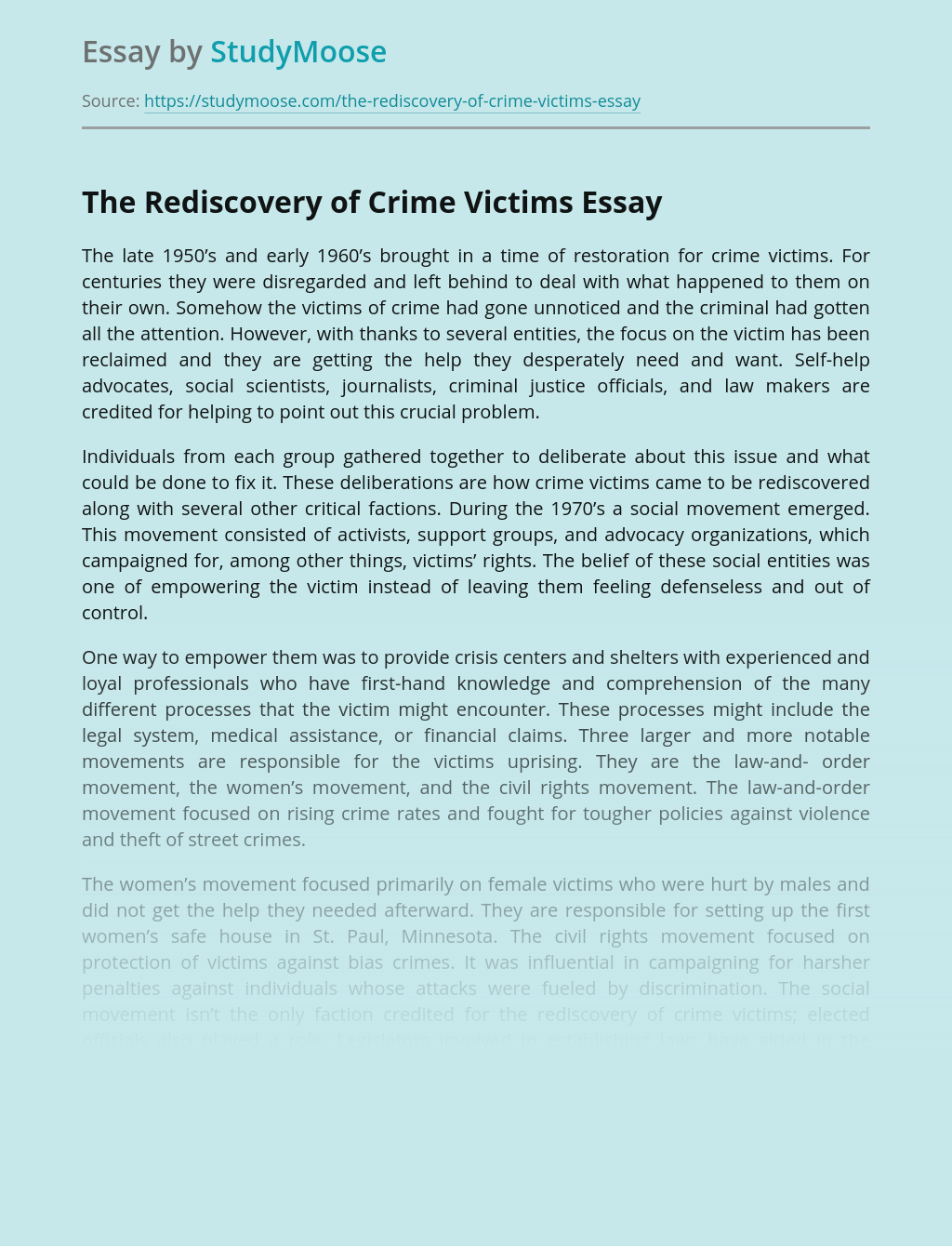 The Rediscovery of Crime Victims