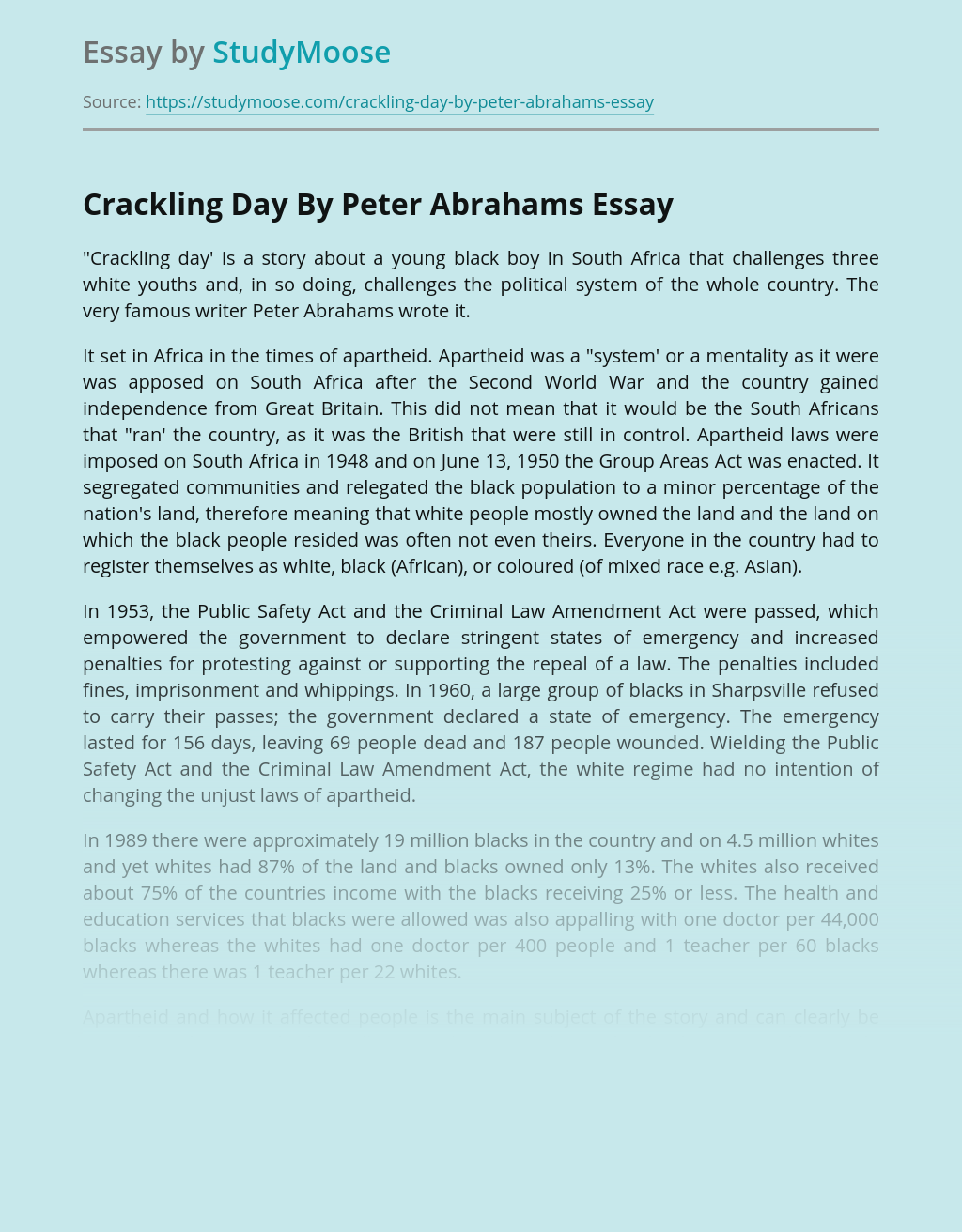 Crackling Day By Peter Abrahams