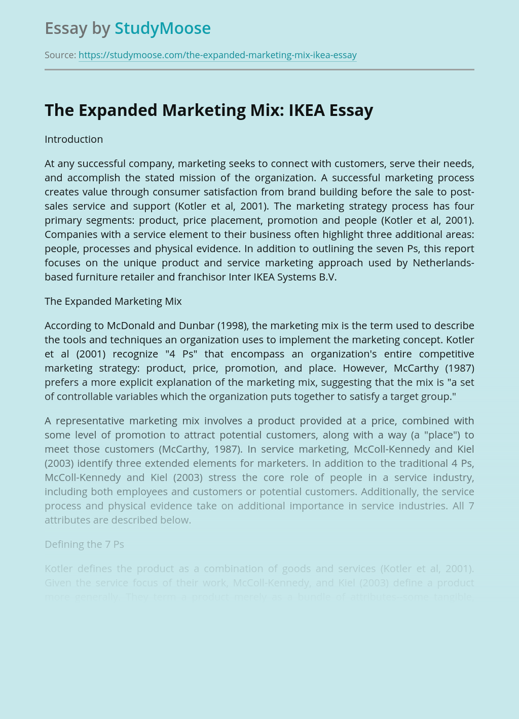 The Expanded Marketing Mix: IKEA