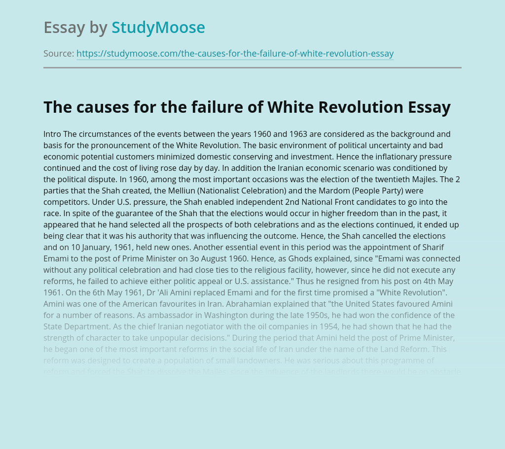 The causes for the failure of White Revolution