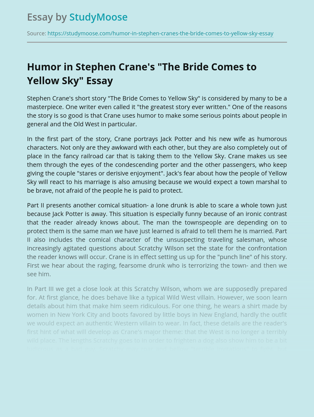 Humor in Stephen Crane's