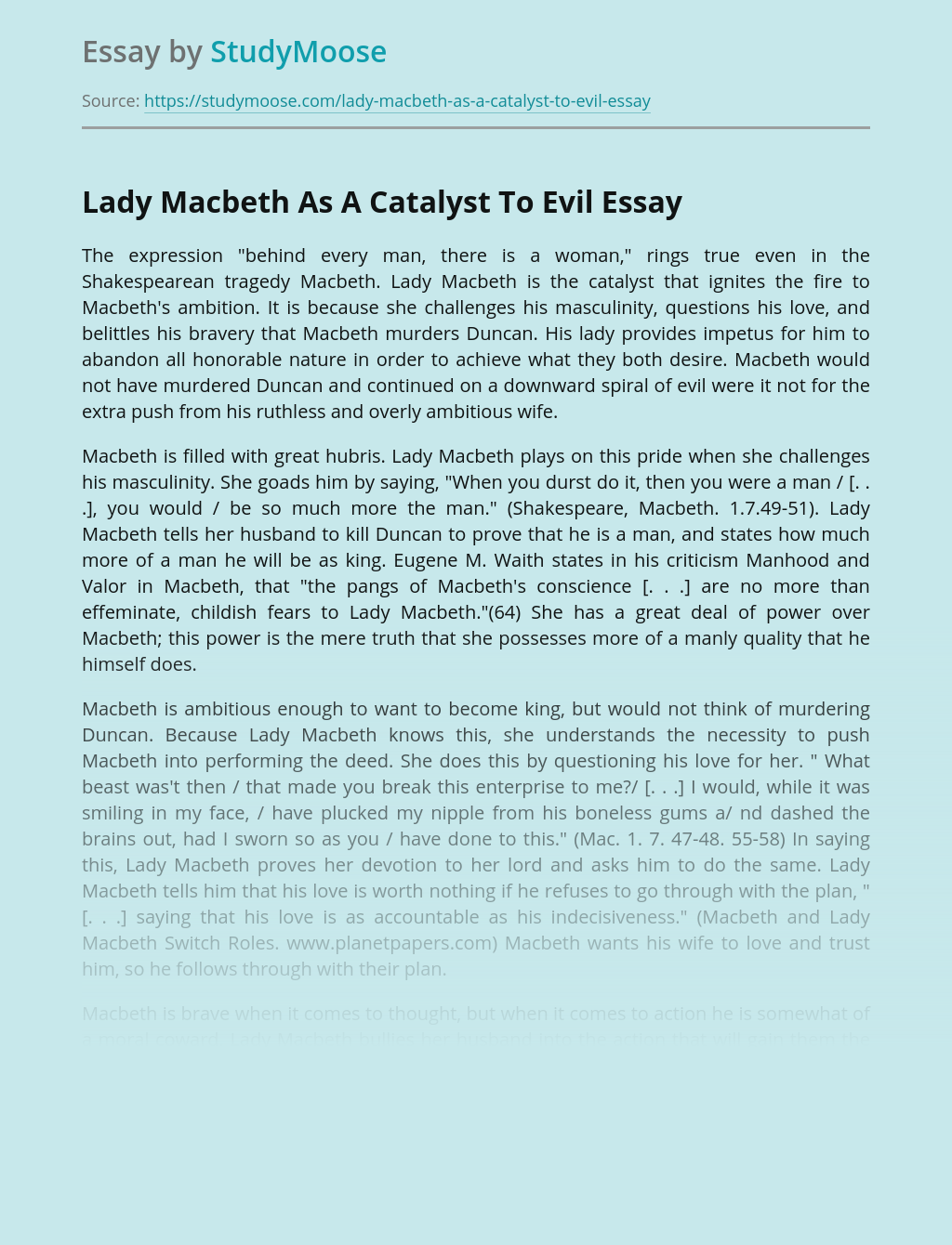 Lady Macbeth As A Catalyst To Evil