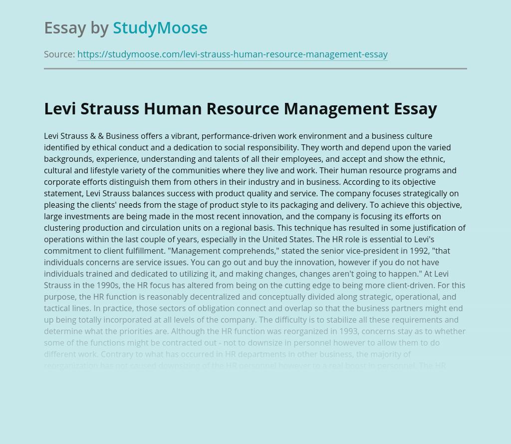 Levi Strauss Human Resource Management