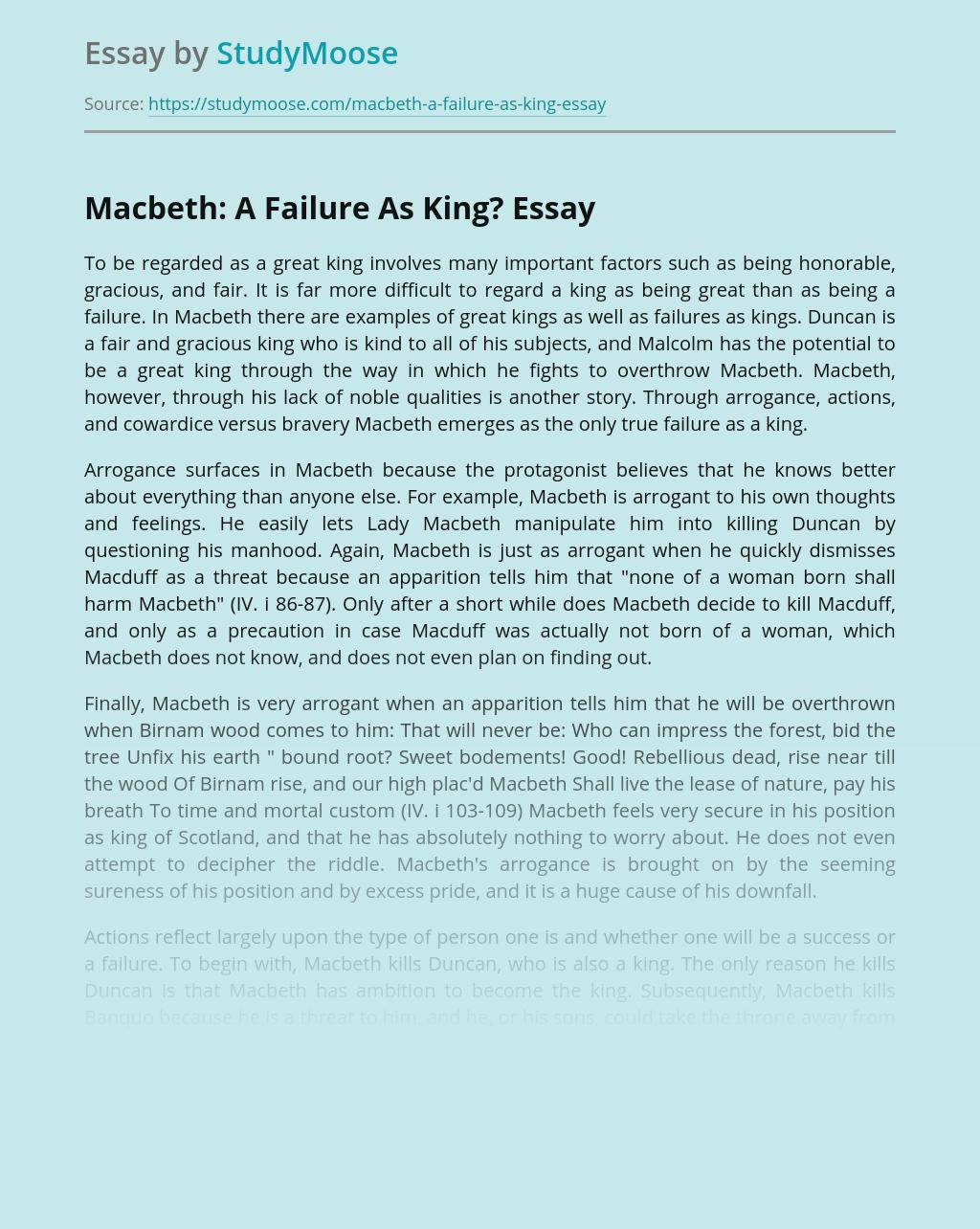 Macbeth: A Failure As King?