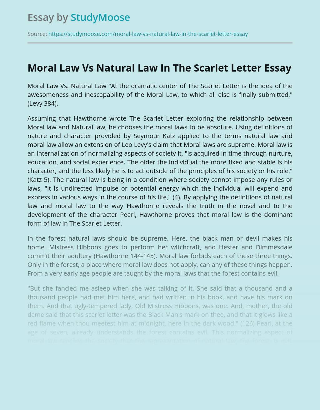 Moral Law Vs Natural Law In The Scarlet Letter