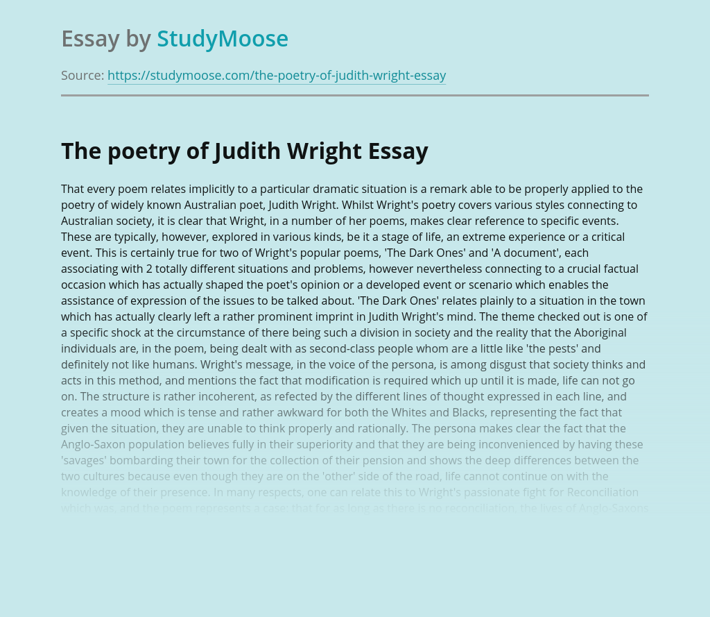 The poetry of Judith Wright