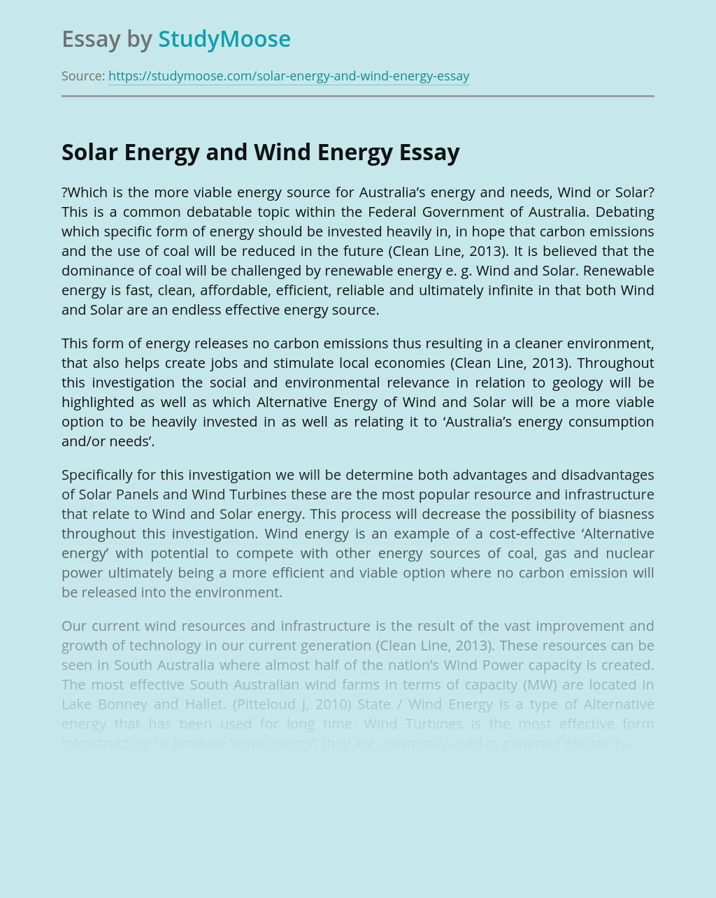 Solar Energy and Wind Energy