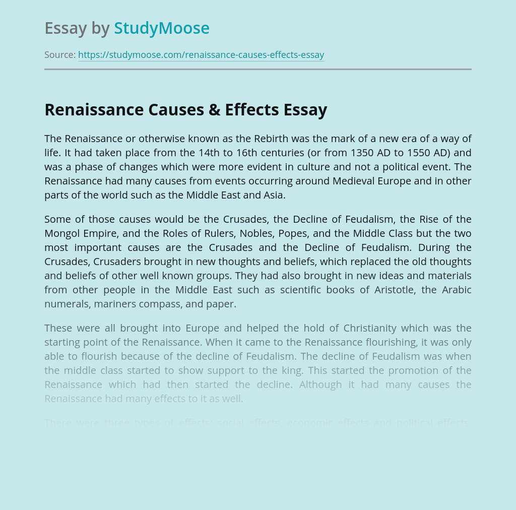 Renaissance Period, Its Causes and Effects