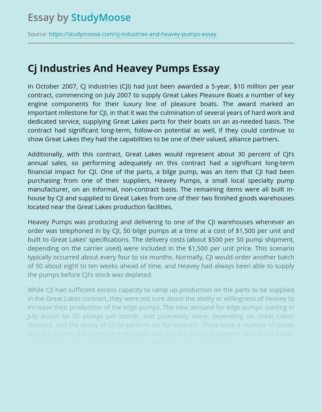 Business Management of Cj Industries And Heavey Pumps