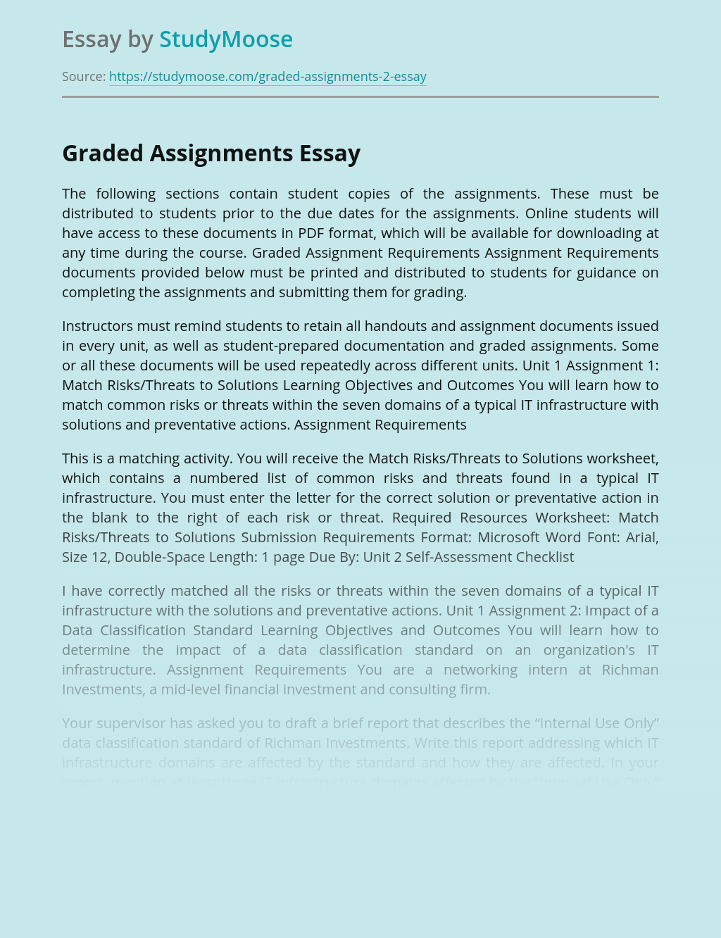 Graded Assignments for Students