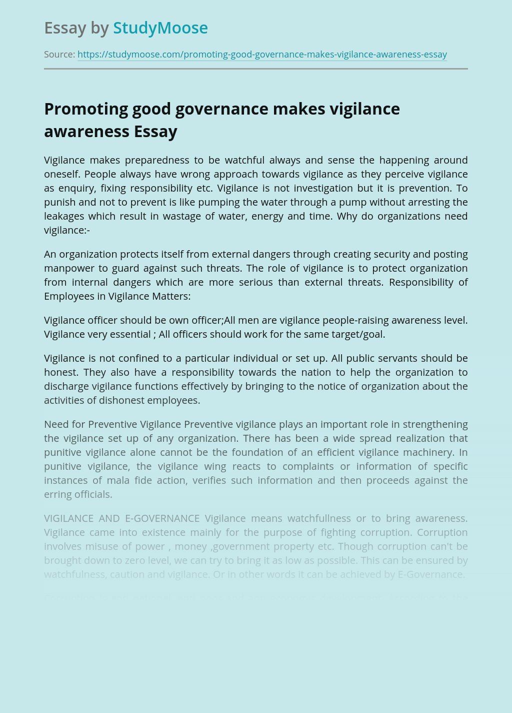 Promoting good governance makes vigilance awareness