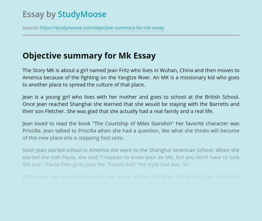 Objective summary for Mk