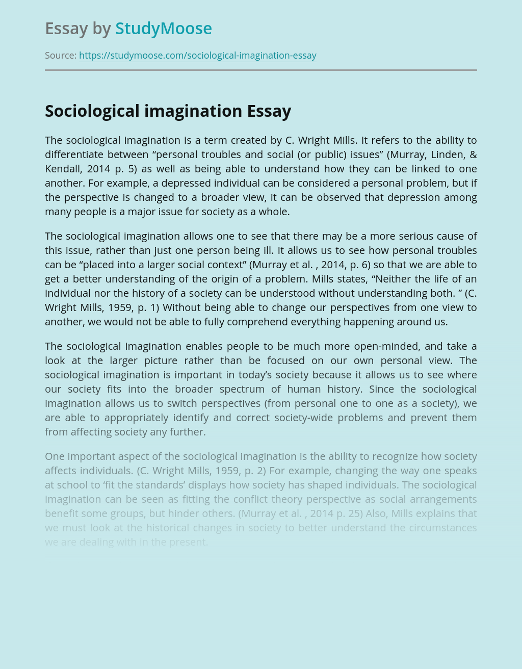 Sociological imagination by C. Wright Mills: Explanation