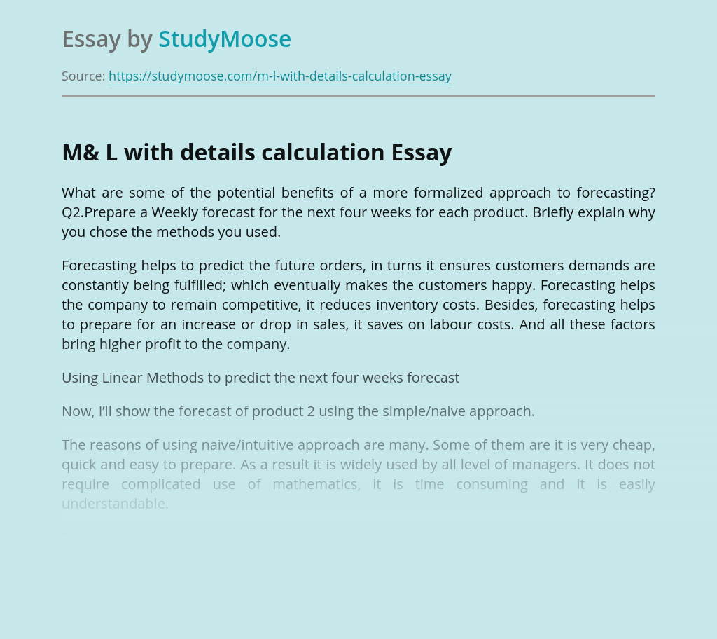 M& L with details calculation