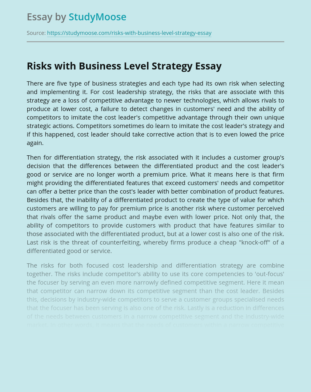 Risks with Business Level Strategy