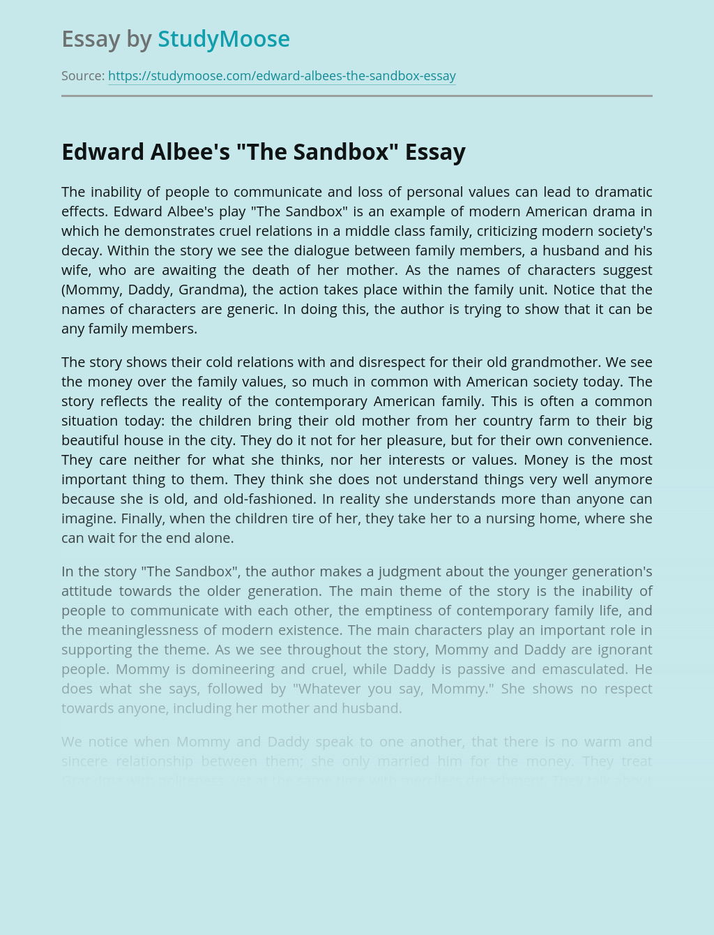 "Edward Albee's ""The Sandbox"""