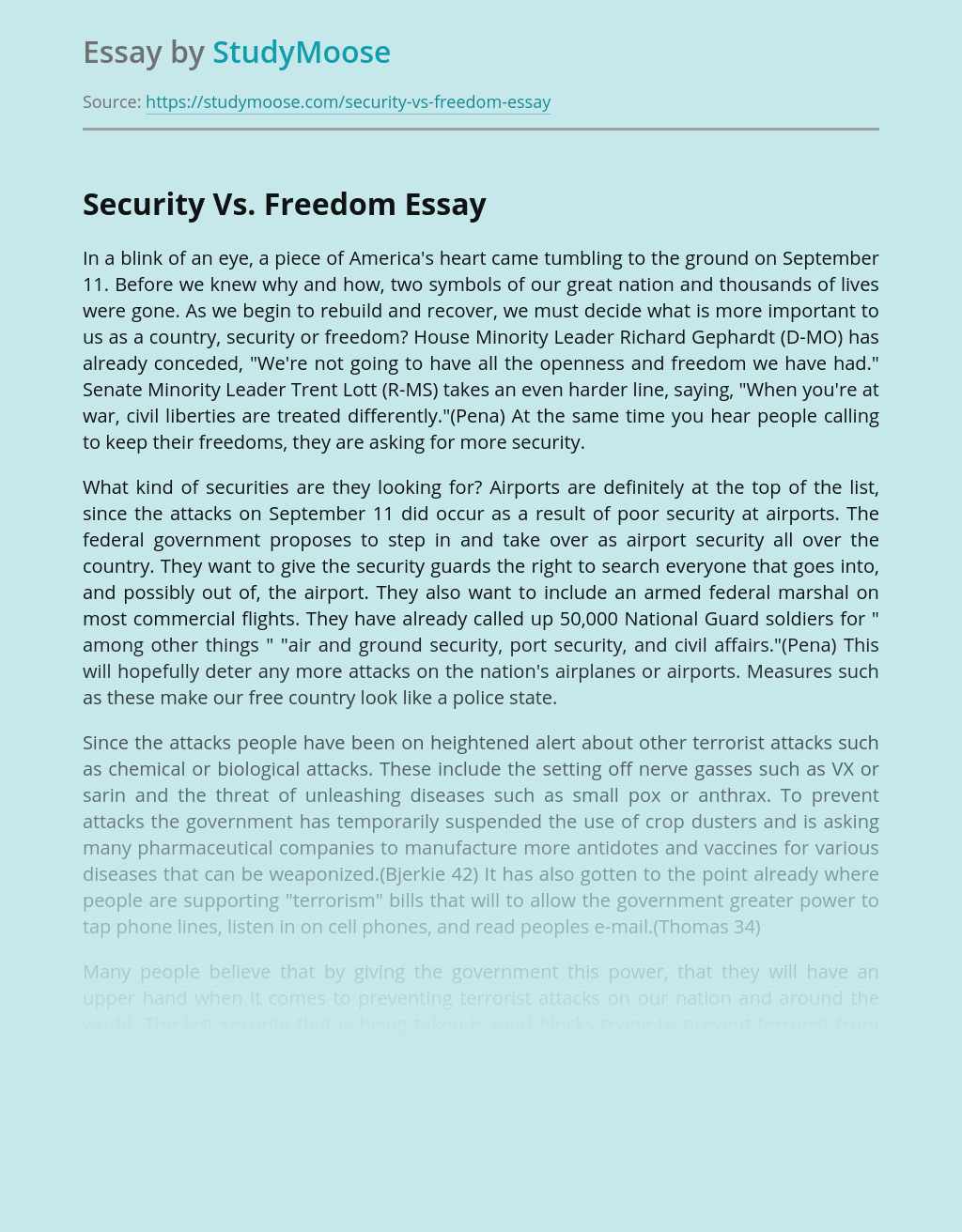 Security Vs. Freedom