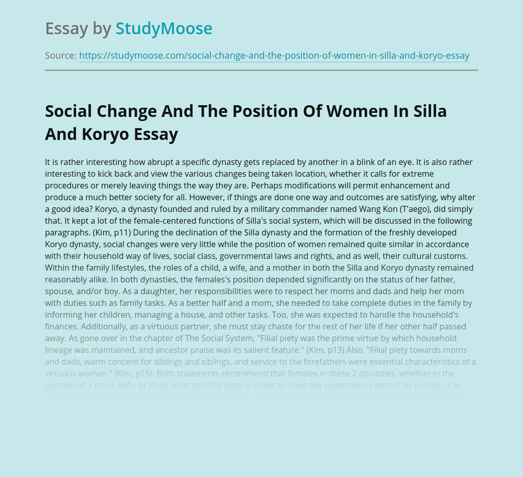 Social Change And The Position Of Women In Silla And Koryo