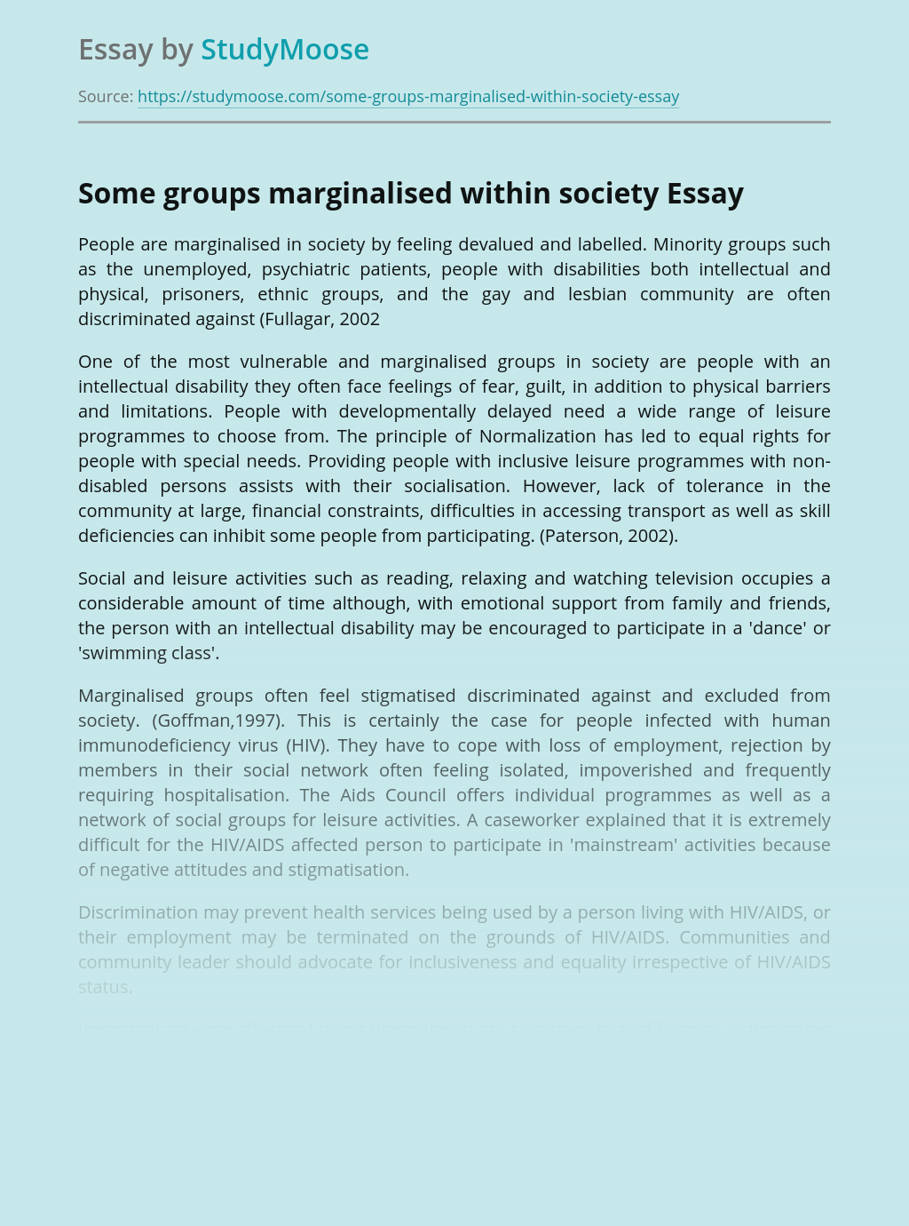 Some groups marginalised within society