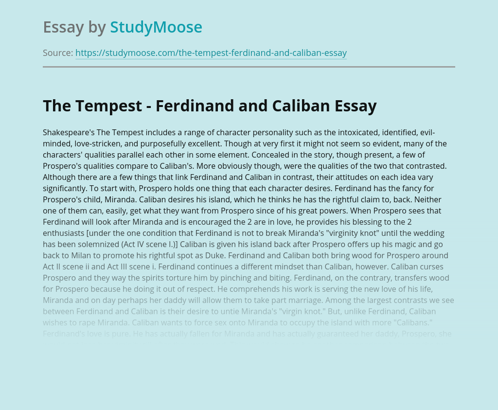 The Tempest - Ferdinand and Caliban