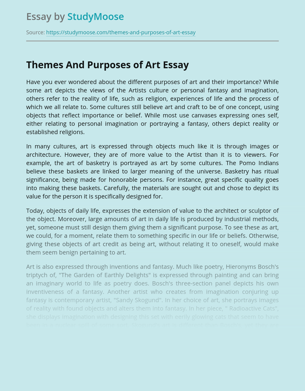 Themes And Purposes of Art