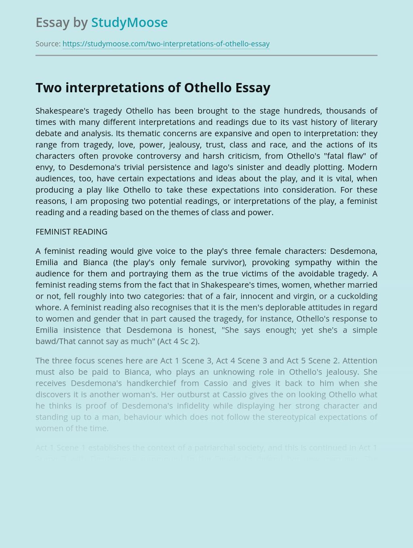 Two interpretations of Othello